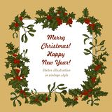 Mistletoe and holly. Christmas and New Year. Vector illustration in vintage style with floral pattern. Christmas. Holly. Mistletoe. New Year. Vector royalty free stock images