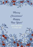 Mistletoe and holly. Christmas and New Year. Vector illustration in vintage style with floral pattern. Christmas. Holly. Mistletoe. New Year. Vector stock illustration