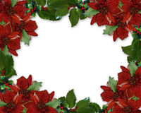 Christmas Holly Poinsettia border Royalty Free Stock Photography