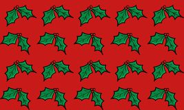 Christmas Holly on a Red Background. Repeated and seamless Stock Images