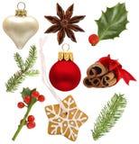 Christmas holly, red ball, green fir, snowflake Stock Photography