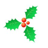 Christmas Holly & red berries. Isolated bright holly with red berries illustration / Clip art Christmas graphics Royalty Free Stock Image