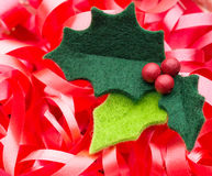 Christmas holly with with red berries Stock Photos