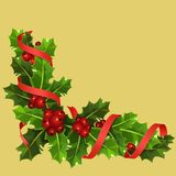 Christmas holly with red berries stock illustration