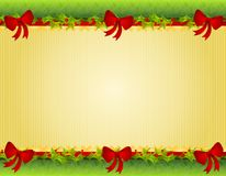 Christmas Holly Red Bows Border Royalty Free Stock Image