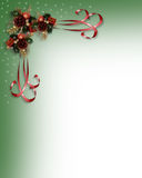 Christmas Holly and ribbons border. Image and illustration composition Christmas design with holly leaves and ribbons for card, invitation or background Royalty Free Stock Photo