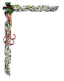 Christmas Holly and ribbons border Stock Photography