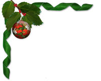 Christmas Holly and ribbons border Stock Images