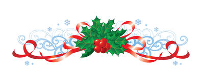Christmas with holly and ribbons / vector Stock Photos