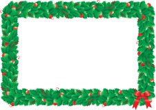 Christmas hollys frame. Border with green hollys leaves for christmas decoration Stock Photos