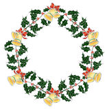 Christmas holly`s wreath with bells Royalty Free Stock Photography