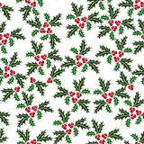Christmas holly seamless illustrated pattern Stock Image