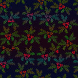 Christmas holly seamless illustrated pattern in shaded colours. On black background stock illustration