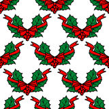 Christmas holly seamless pattern Stock Image