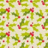 Christmas holly seamless pattern Royalty Free Stock Photo