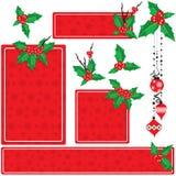 Christmas holly set. Christmas holly banner vector set Stock Photos