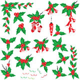 Christmas holly set Royalty Free Stock Photo