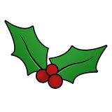 Christmas holly sprig Royalty Free Stock Photos