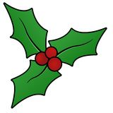 Christmas holly sprig. Illustration of a sprig of holly Royalty Free Stock Image