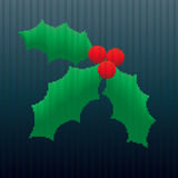 Christmas Holly in Stripes Royalty Free Stock Images