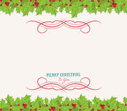 Christmas holly top and bottom border Royalty Free Stock Photo