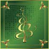 Christmas holly and tree Royalty Free Stock Image