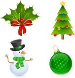 Christmas Holly, Tree, Snowman and Bauble. Christmas icon set. Christmas Holly, Tree, Snowman and Bauble Stock Photo