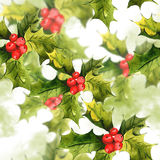 Christmas Holly Watercolor seamless background Stock Photography