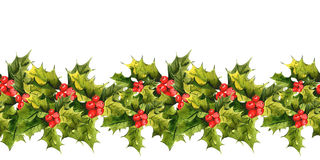 Christmas Holly Watercolor seamless background Royalty Free Stock Image