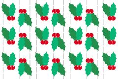 Christmas holly on white Background. Holly background illustrate for Christmas. Use for decorate in artwork Royalty Free Stock Image