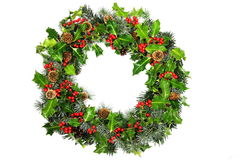 Christmas holly wreath Stock Photo