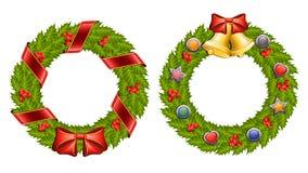Christmas holly wreath Stock Photos