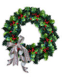 Christmas Holly Wreath. 3D image and illustration composition of Christmas wreath design with holly leaves and satin bow Stock Photography