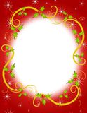 Christmas Holly Wreath Frame 2. A background illustration featuring a Christmas holly wreath frame in red with white sparkles and gold swirls Stock Photo