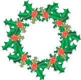 Christmas Holly wreath. Green leaves, red fruit, gradient, object, on white, New Year Stock Photo