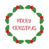 Christmas holly wreath Royalty Free Stock Photos