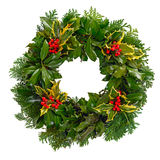 Christmas holly wreath isolated. On a white background royalty free stock images