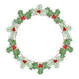 Christmas Holly Wreath. Vector Illustration With Space For Text. Royalty Free Stock Photo