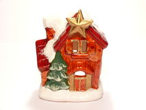 Christmas home. Christmas ornament small house isolated over white Stock Photos