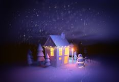 Christmas Home Covered in Snow stock images