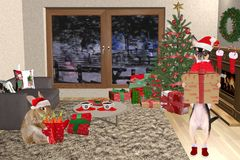 Christmas home with cute chihuahua dog and cute bunny. Background Stock Photos
