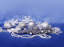 Christmas home decor on blue backround Royalty Free Stock Images