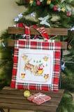 Christmas home decor embroidery bag. Gift, present. Royalty Free Stock Image
