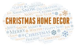 Christmas Home Decor word cloud. Wordcloud made with text only stock illustration
