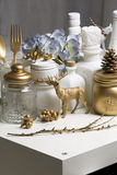 Christmas home decoration in golden colors Stock Photography