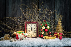Christmas home decorations. With clock and lamb figurine Royalty Free Stock Photo