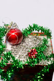 Christmas home decorations. New ukrasheniyav in a box for the Christmas tree and house for new year and Christmas Royalty Free Stock Photos