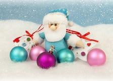 Christmas santa with color balls Stock Photos