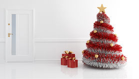Christmas Home entance. White home entance with christmas tree and present - rendering Royalty Free Stock Image