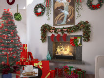 Christmas. At home in front of a fireplace Stock Images